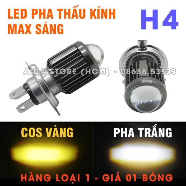 01 đèn pha led H4 bi cầu cắt sáng 2 màu cos pha 18w - DC 12v