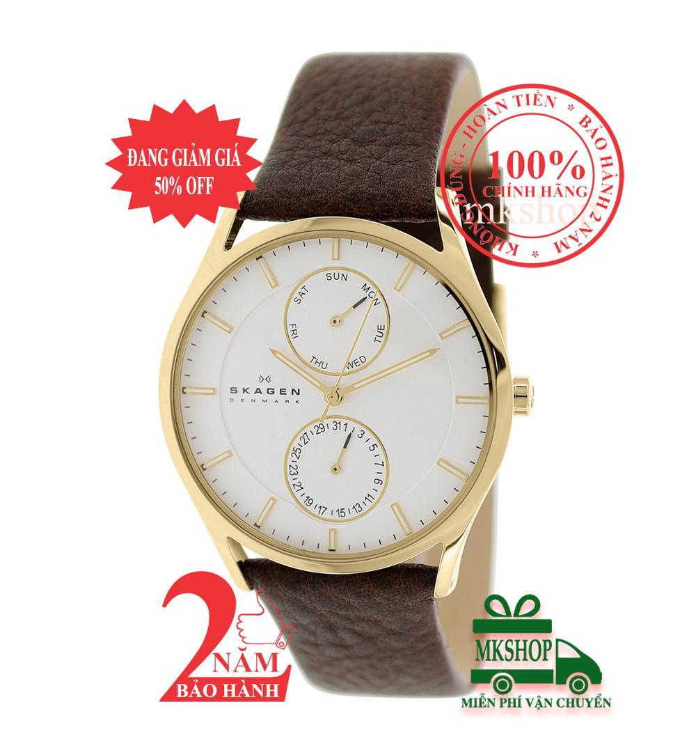 Đồng hồ nam Skagen Holst SKW6066, màu vàng (Gold), mặt trắng, size 40mm, lịch kép, dây da nâu (Brown)- Model: SKW6066 bán chạy