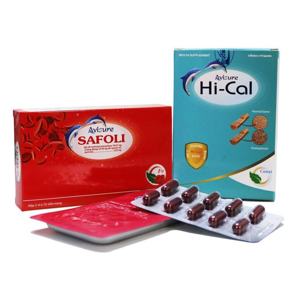Combo 1 HỘP Sắt hữu cơ Avisure Safoli và 1 HỘP Canxi tự nhiên Avisure Hical cho phụ nữ mang thai và cho con bú