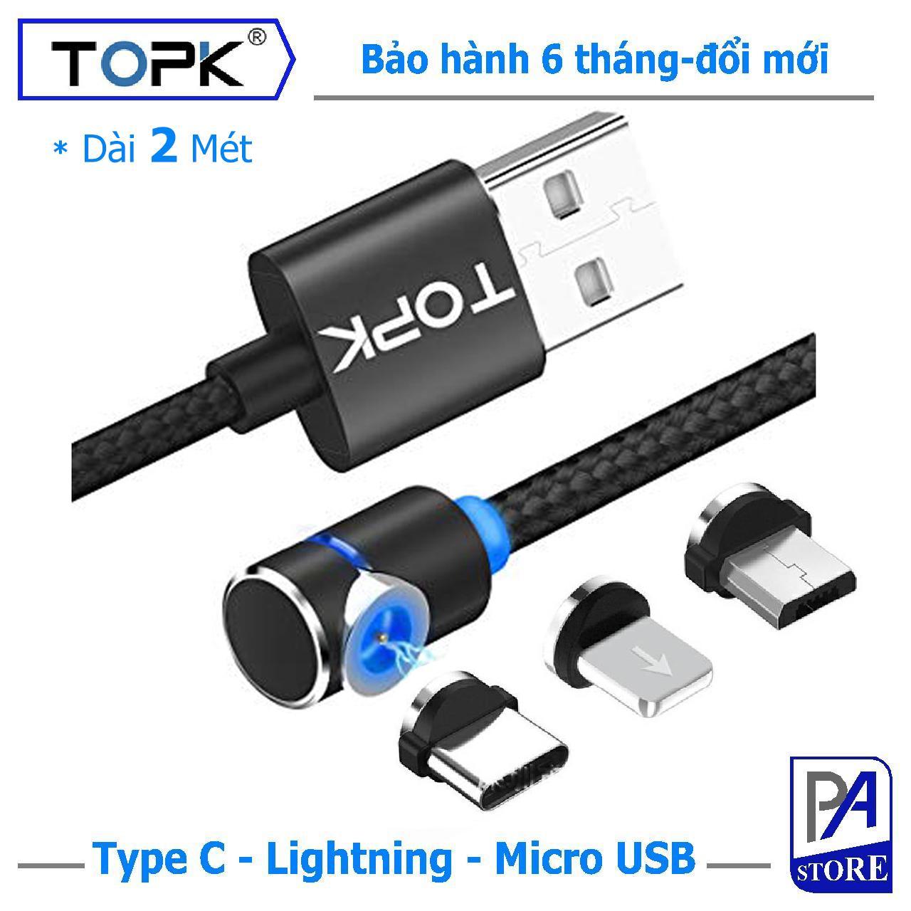 Cáp Sạc Nam châm TOPK Siêu Phong Cách, Dài 2 mét, Chữ L (1 Trong 3 Đầu Iphone Lightning, Micro USB, USB Type C)