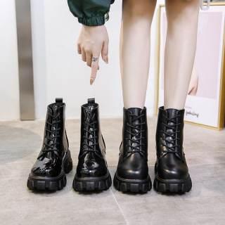 Giày boost cổ cao độn đế 5cm mẫu mới kiểu dáng mạnh mẽ  với 2 loại bóng và lì Boots cổ cao phù hợp với mùa đông lạnh giá