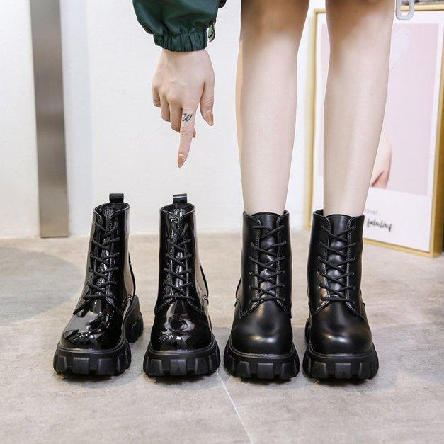 Giày boost cổ cao độn đế 5cm mẫu mới kiểu dáng mạnh mẽ  với 2 loại bóng và lì Boots cổ cao phù hợp với mùa đông lạnh giá giá rẻ