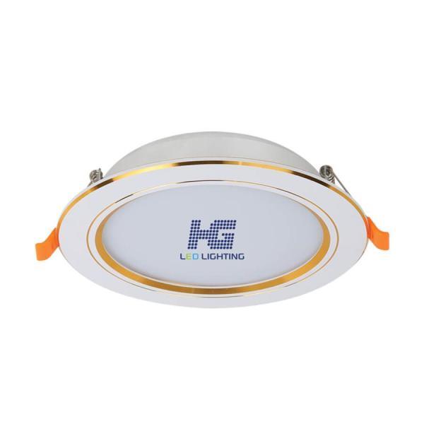 Đèn led âm trần viền vàng 9W - 3 màu 3 chế độ