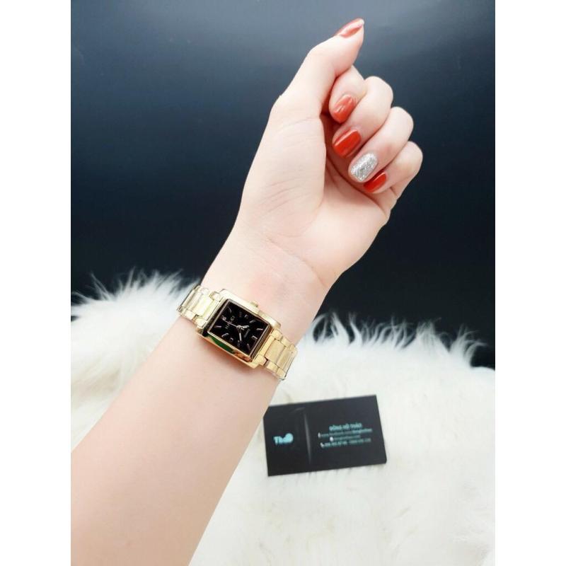đồng hồ nữ halei mặt vuông dây vàng mặt đen HLD01 chống nước chống xước