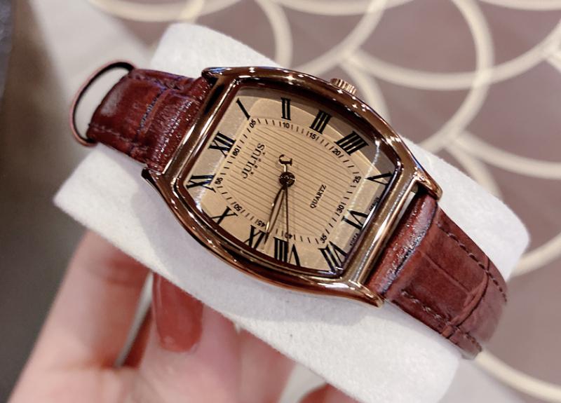 Đồng hồ nữ Julius Hàn Quốc JA-703LD cổ điển dây da (Nâu)