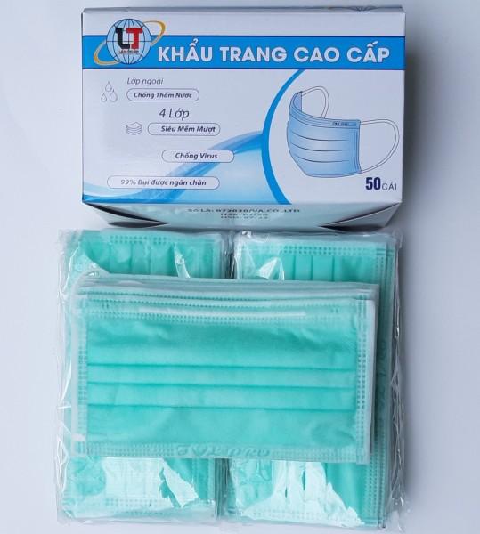 [50 KT Lá Mạ] 01 hộp Khẩu Trang Y Tế 4 Lớp LÂM THỊNH ngăn ngừa vi khuẩn, 99% ngăn chặn bụi Chống Virus 50 cái/hộp Màu Xanh Lá Mạ