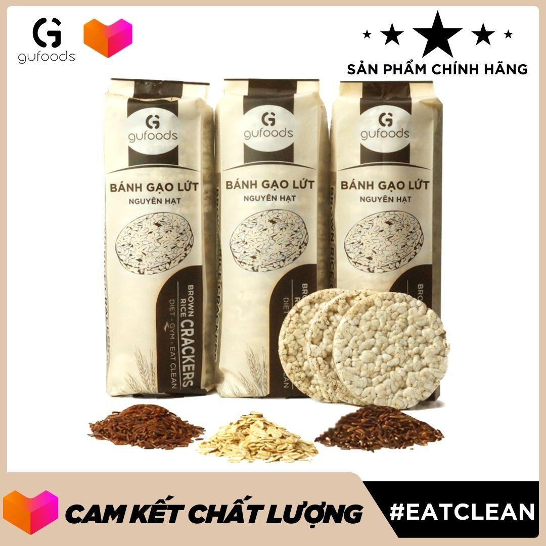 Bánh gạo lứt ăn kiêng GUfoods (tổng 510g = 54 bánh) - Mix 3 hương vị Yến mạch + Huyết rồng + Tím than - Hỗ trợ Giảm cân, Thực dưỡng, Eat clean