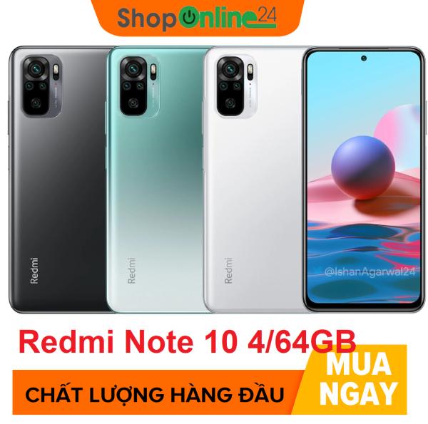 iện thoại Xiaomi Redmi Note 10 4GB/64GB - Snapdragon 8 nhân 678 | Màn hình AMOLED 6.43 | Pin siêu khủng 5000mAh sạc nhanh 33W | Cảm biến vân tay | Nhận diện khuôn mặt - BH CHÍNH HÃNG 18 tháng