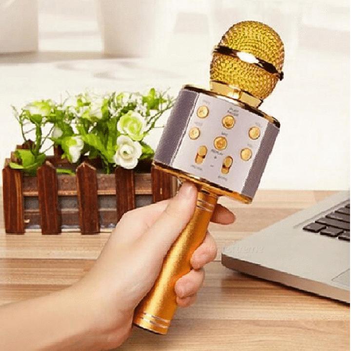 【BH 6 THÁNG】WS-858 Mic Hát Karaoke Bluetooth Không Dây Kèm loa Âm vang Ấm mic hát karaoke cầm tay mini micro hát trên xe hơi mic hát karaoke hay nhất hiện nay