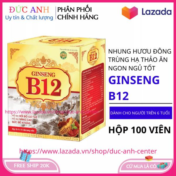 Viên Uống Vitamin Tổng Hợp B-12 GINSENG Đông Trùng Hạ Thảo Nhân Sâm Nhung Hươu (Hộp 100 viên) Giúp Ăn Ngon Tăng Cường Sức Đề Kháng Cho Sức khỏe HSD 2024 Đạt chuẩn GPP