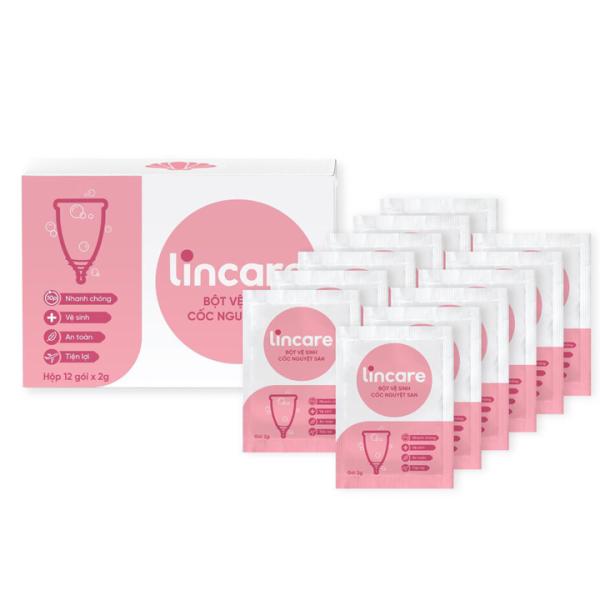 Bột vệ sinh Lincare tiệt trùng Cốc nguyệt san Hộp 12 gói tiện lợi, an toàn, nhanh chóng, gọn nhẹ giá rẻ