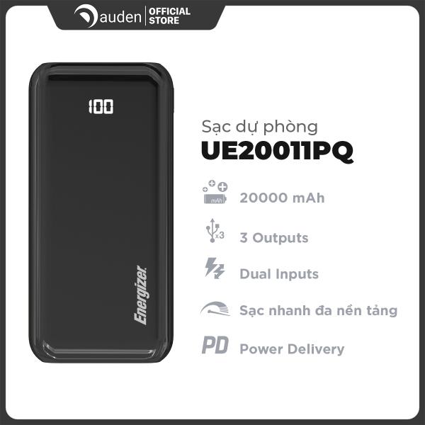 Sạc dự phòng Energizer UE20011PQ 20,000mAh hỗ trợ sạc nhanh PD 18W, 3 cổng outputs, 2 cổng inputs - Dâu Đen Store
