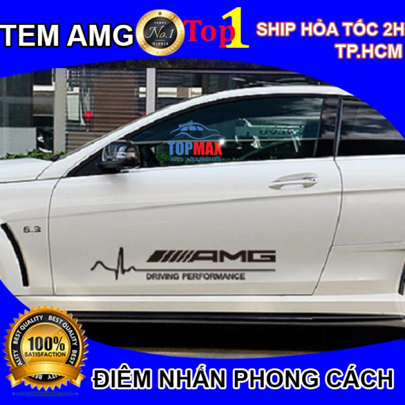 Bộ 2 tem AMG dán cửa xe ô tô phong cách thể thao, dán trang trí cửa xe ô tô