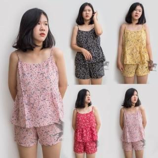 Bộ Đồ Ngủ Hai Dây Gợi Cảm Hoa Nhí chất vải Voan Lụa Mềm Mát Size 40-60kg thumbnail