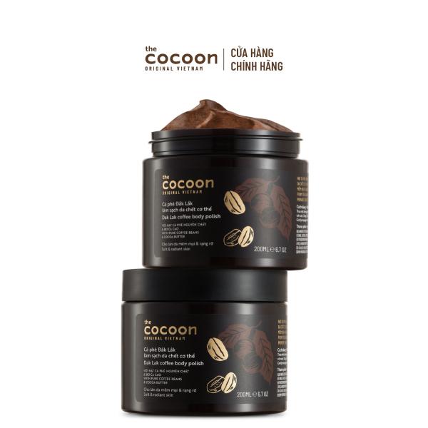 [GIẢM 15% KHI THANH TOÁN]Combo 2 hũ Cà phê Đắk Lắk làm sạch da chết cơ thể Cocoon 200ml/hũ giá rẻ