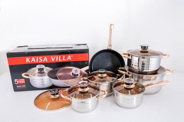 Bộ nồi KAISA VILLA - 6 món 12 chi tiết công nghệ Đức -  Thích hợp cho mọi loại bếp (đặc biệt bếp từ)
