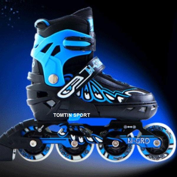 Mua Giày trượt patin trẻ em bánh phát sáng, tặng kèm bảo hộ chân tay, bánh cao su trượt mượt và êm có độ trơn với 3 màu Đỏ, Xanh, Đen cho bé trai và bé gái 3-13 tuổi [TOMTIN SPORT]
