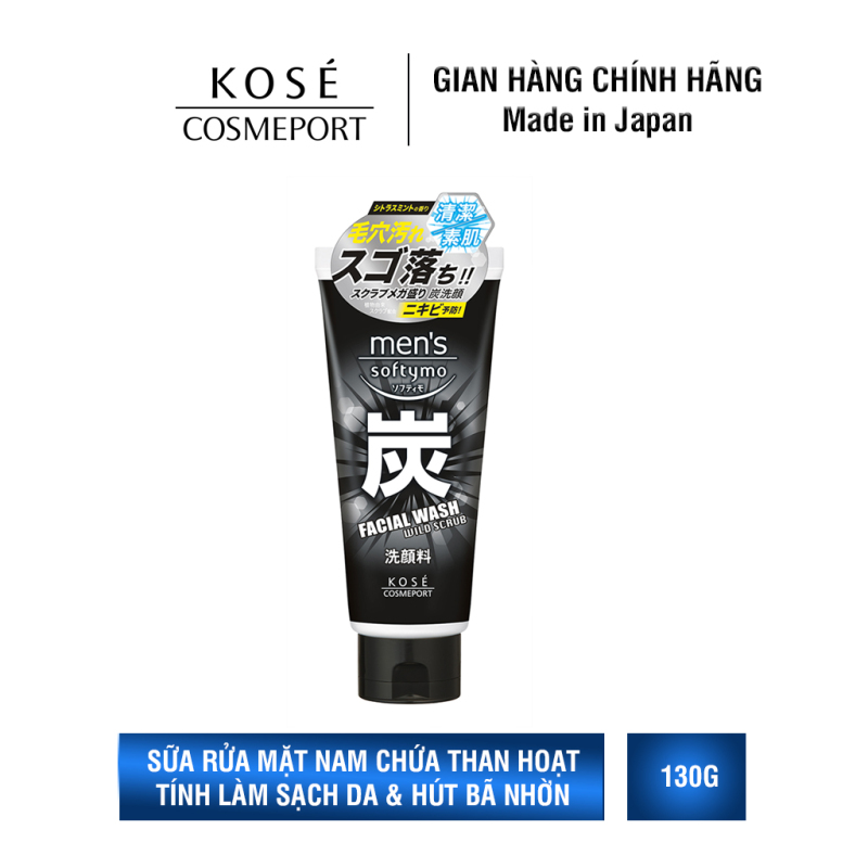Sữa Rửa Mặt Dành Cho Nam Kosé Cosmeport Mens Softymo Facial Wash Wild Scrub 130ml giá rẻ