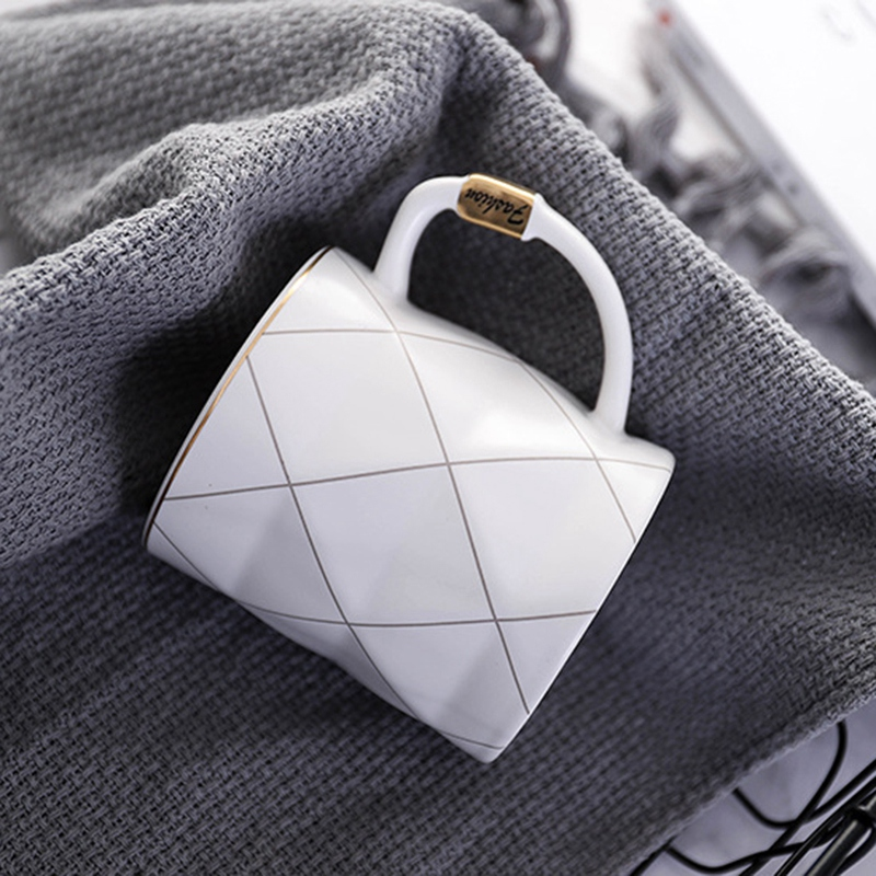 Nordic Golden White Grid Geometry Ceramic Coffee Mug Porcelain Juice Drinking Cup Coffee Milk Tea Cup