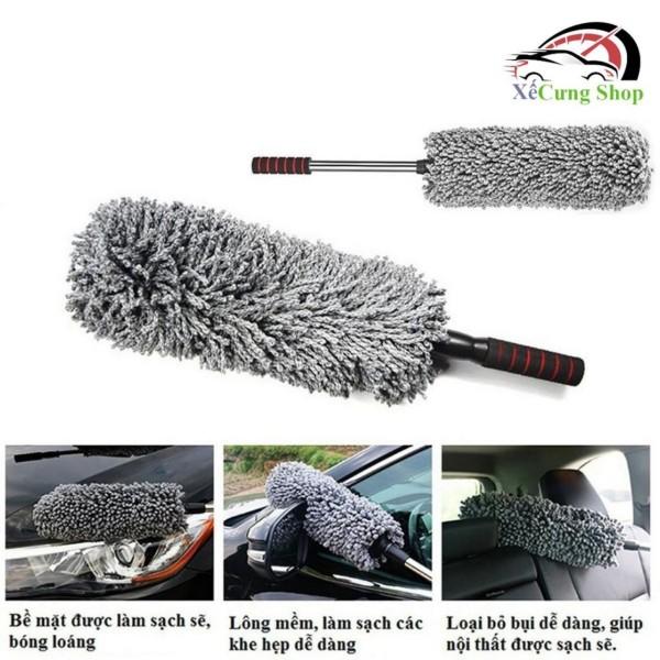 Cây chổi lau bụi bằng sợi dầu, cán dài kim loại co rút được rửa xe, dọn nội thất cho xe hơi, xe otô, xe tải sạch sẽ
