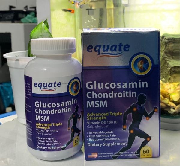 Viên Uống Bổ Xương Khớp Equate Glucosamin giảm đau nhức mỏi xương khớp tái tạo mô sụn tăng tiết dịch khớp - Hộp 60 viên