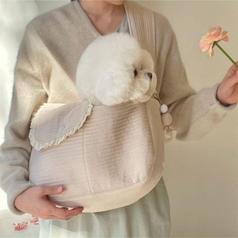 YINLMALL Dây đai mở rộng Thủ công Túi đeo vai đơn Túi tote cho thú cưng Cún yêu Du lịch ngoài trời Túi chó con Túi đeo Túi vận chuyển chó Phụ kiện vật nuôi
