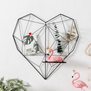 Khung lưới sắt hình trái tim 3D treo ảnh trang trí Decor phòng ngủ, phòng khách, quán cafe kèm kệ để đồ thumbnail