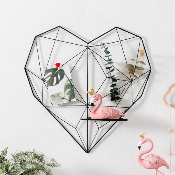 Khung lưới sắt hình trái tim 3D treo ảnh trang trí Decor phòng ngủ, phòng khách, quán cafe kèm kệ để đồ
