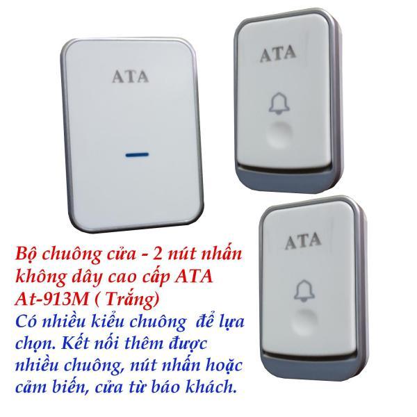 Bộ Chuông cửa không dây - 2 nút nhấn ATA AT-913M ( Trắng). Tiếng chuông hay. Kết nối đa năng.