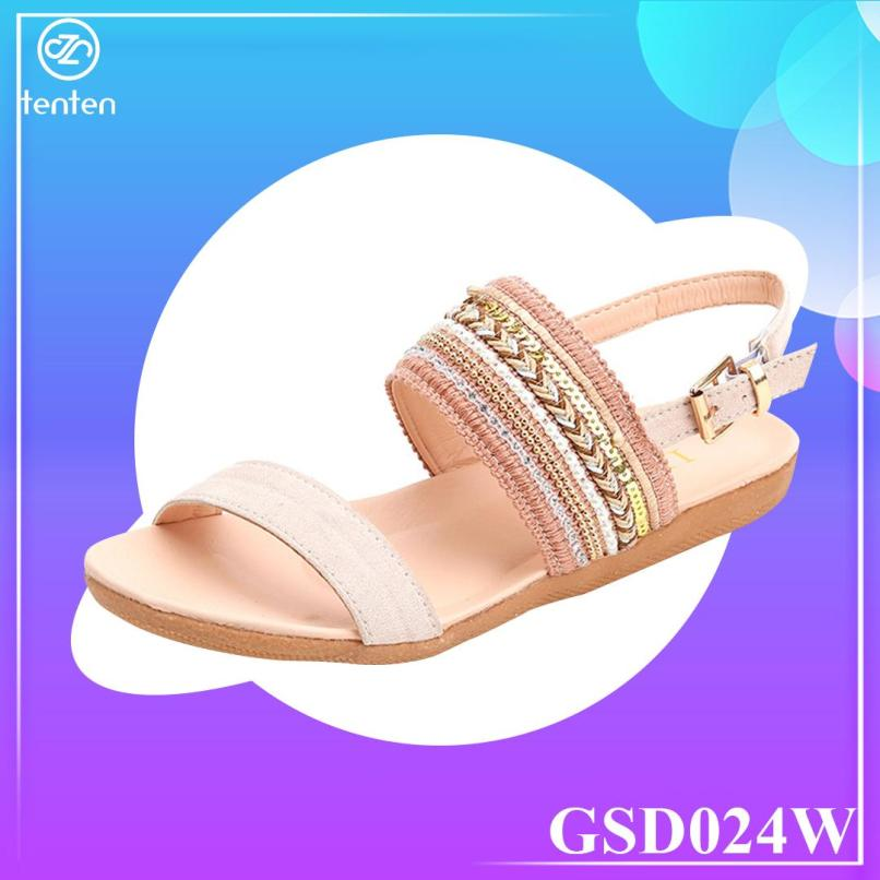 Giày Sandal Nữ Đế Bệt Họa Tiết Thổ Cẩm GSD024W (Hồng) - Tenten giá rẻ