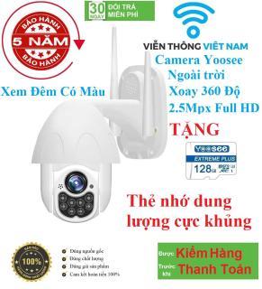 [CÓ MẦU BAN ĐÊM XOAY 360 ĐỘ TẶNG KÈM THẺ 128GB YOOSEE] camera wifi 2.5 ngoài trời - Camera Wifi Ip Ngoài Trời - FULLHD 1080 - Xoay 360 - Đèn Led- Đàm Thoại 2 Chiều-Hồng Ngoại Quay Đêm-Siêu Nét thumbnail