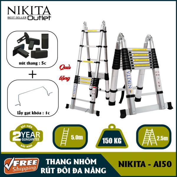 Thang nhôm rút đa năng  NIKITA AI50 (2.5+2.5m) [ Siêu bền ] Tiêu chuẩn an toàn Châu Âu EN131. Bảo hành chính hãng 2 năm NIKITA OUTLET