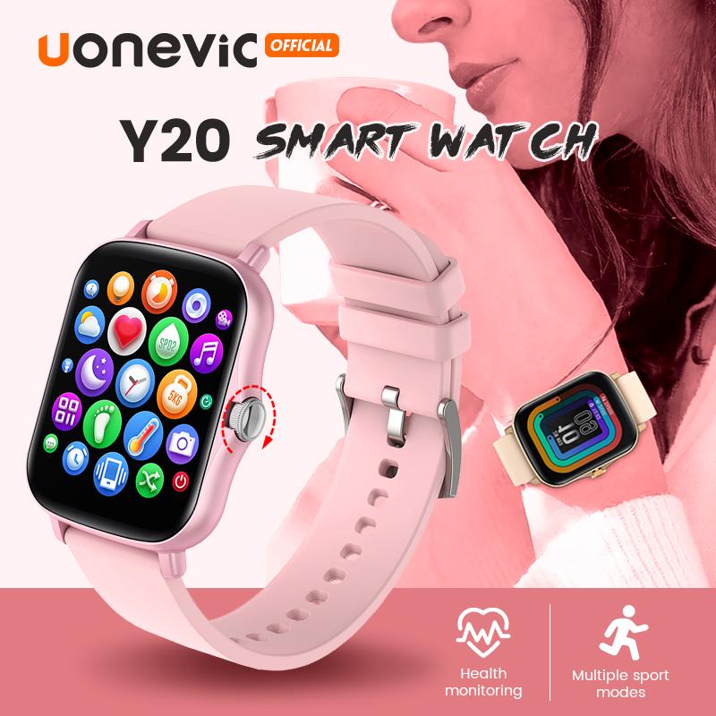 Đồng Hồ Thông Minh 2021 Uonevic Y20 IPX7 Đồng Hồ Chống Thấm Nước Đồng Hồ Tự Làm Nhắc Nhở Cuộc Gọi Điện Thoại Mặt Tập Thể Dục Tracker Đồng Hồ Thông Minh Thể Thao Cho Nam Nữ Pk P8 Smartwatch
