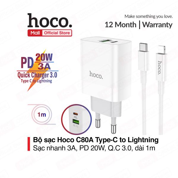Bộ sạc Hoco C80 sạc nhanh QC3.0 PD20W 2 cổng sạc USB và TypeC dây cáp TypeC to Lightning 1m chất liệu chống cháy
