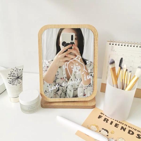 Gương đặt bàn trang điểm chất liệu gỗ cao cấp - Gương trang điểm phong cách Hàn Quốc - Gương nhỏ để bàn giá rẻ