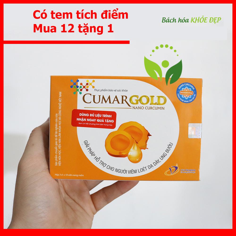 Hộp 30 viên uống CumarGold Nano Curcumin hỗ trợ cho người viêm loét dạ dày ung bướu - Có tem tích điểm