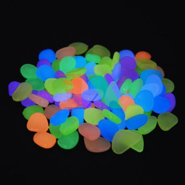 Bộ 100 viên sỏi phát sáng (sỏi dạ quang) chuyên dụng cho bể cá phát sáng trong đêm (Mix màu)