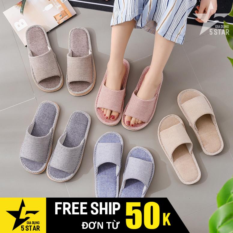 Dép mang đi trong nhà, văn phòng làm việc giữ ấm chân, đế chống trượt, đệm lót mềm êm chân sọc caro kiểu Nhật Bản 5STAR giá rẻ