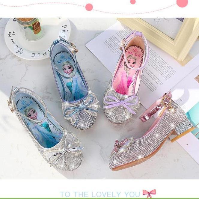 Giày cao gót Elsa bé gái đính hột đá pha lê nhỏ từ 3 - 12 tuổi giá rẻ