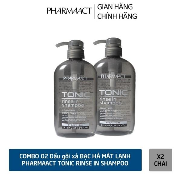 COMBO 02 chai Dầu Gội Xả 2in1 Bạc Hà Mát Lạnh cho Nam PharmaAct Tonic Rinse In Shampoo (600ml)