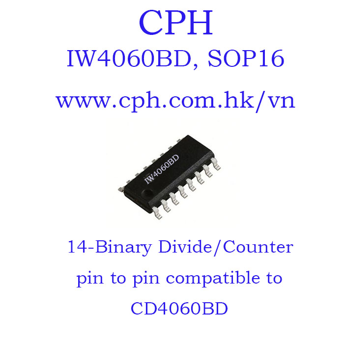 Giá 5pcs IW4060BD CD4060BD IW4060 CD4060 SOP16 IKSemicon 14-Bit Binary Divide/Counter