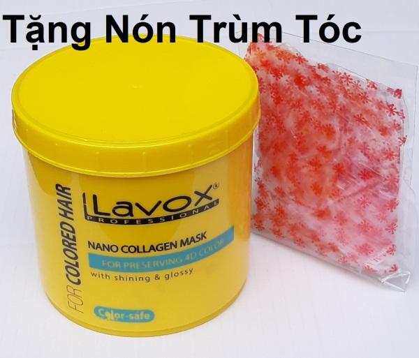 [giữ màu nhuộm] Hấp dầu ủ tóc giữ màu nhuộm 04 D Tinh chất Nano Collagen Lavox 500ml  (tặng nón trùm tóc) giá rẻ