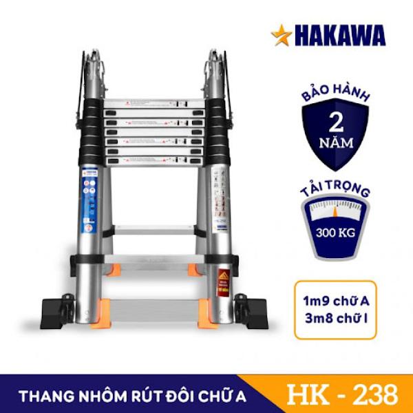 THANG NHÔM RÚT ĐÔI CHỮ A HAKAWA HK-238 (3M8 ) - PHÂN PHỐI CHÍNH HÃNG - BẢO HÀNH 2 NĂM