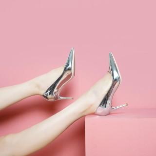 Giày cao gót thời trang quý phái da bóng bạc vàng thương hiệu Vietvalani C47 thumbnail