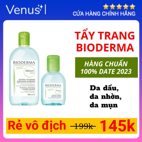 Tẩy trang Bioderma Sebium, tẩy trang Bioderma Crealine H2O Màu Xanh Lá cho Da dầu, da nhờn, da mụn Dung tích 100-500 ml