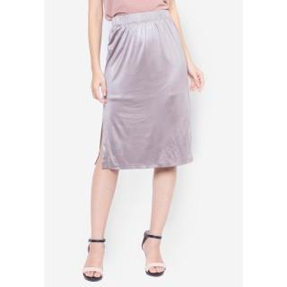 Chân váy nữ 2 lớp DELUCA 63936 lưng chun xẻ tà màu nâu thumbnail