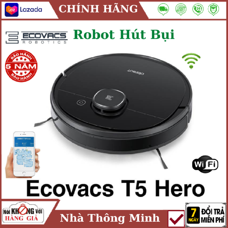 (Bảo hành chính hãng 5 năm) Robot hút bụi lau nhà ecovacs Deebot T5 Hero cao cấp , Điều khiển qua điện thoại , Công nghệ dẫn đường bằng Laser hiện đại , Lực hút 1500Pa , robot hút bụi deebot , máy hút bụi , nhà thông minh