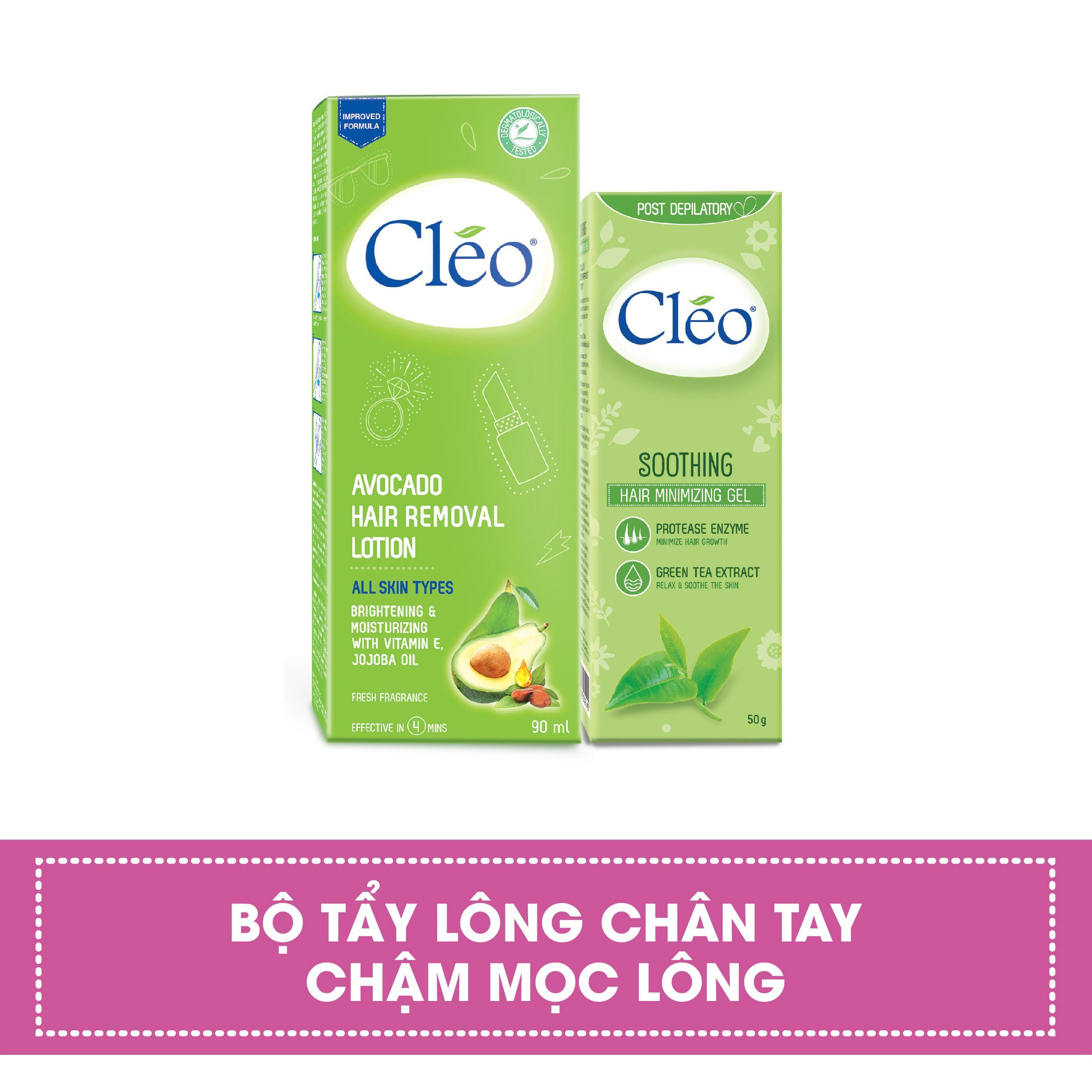 Combo Lotion Tẩy Lông Cleo Avocado 90ml + Gel Dịu Da Sau Tẩy Lông Cléo Giúp Chậm Mọc Lông (50g) tốt nhất
