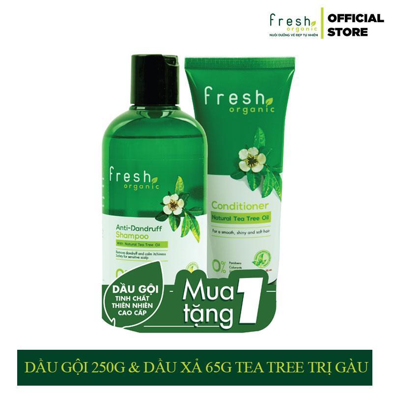 Combo Dầu Gội 250g & Dầu Xả 65g Fresh Organic Tea Tree Trị Gàu tốt nhất