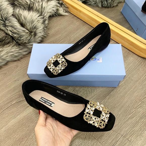 Giày búp bê nữ phối hoa đá da mềm êm chân giá rẻ